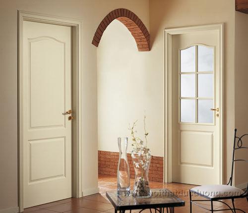 Cửa gỗ sơn trắng với chất liệu là gỗ công nghiệp