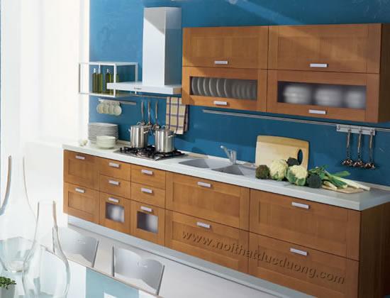 Design tủ bếp gỗ Veneer Dổi 08