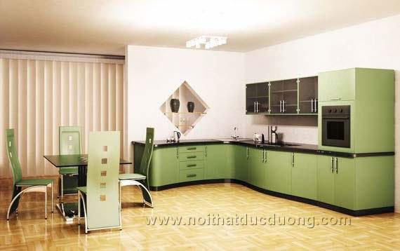 Tủ bếp màu xanh điệu đà 11