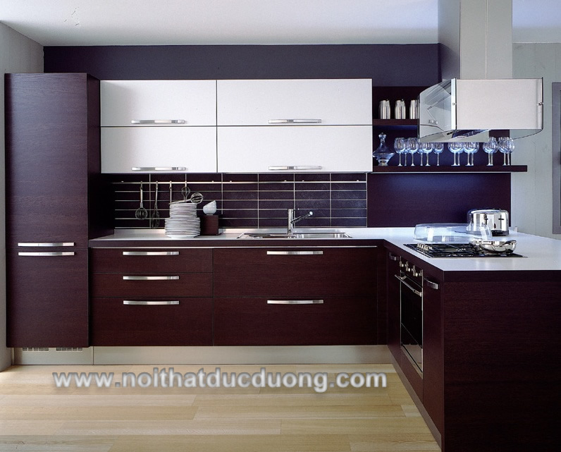 Tủ bếp màu tím sang trọng 09