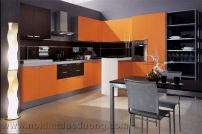Tủ bếp màu cam cá tính 10