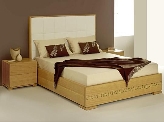 Giường ngủ gỗ dổi bọc đệm mút 18