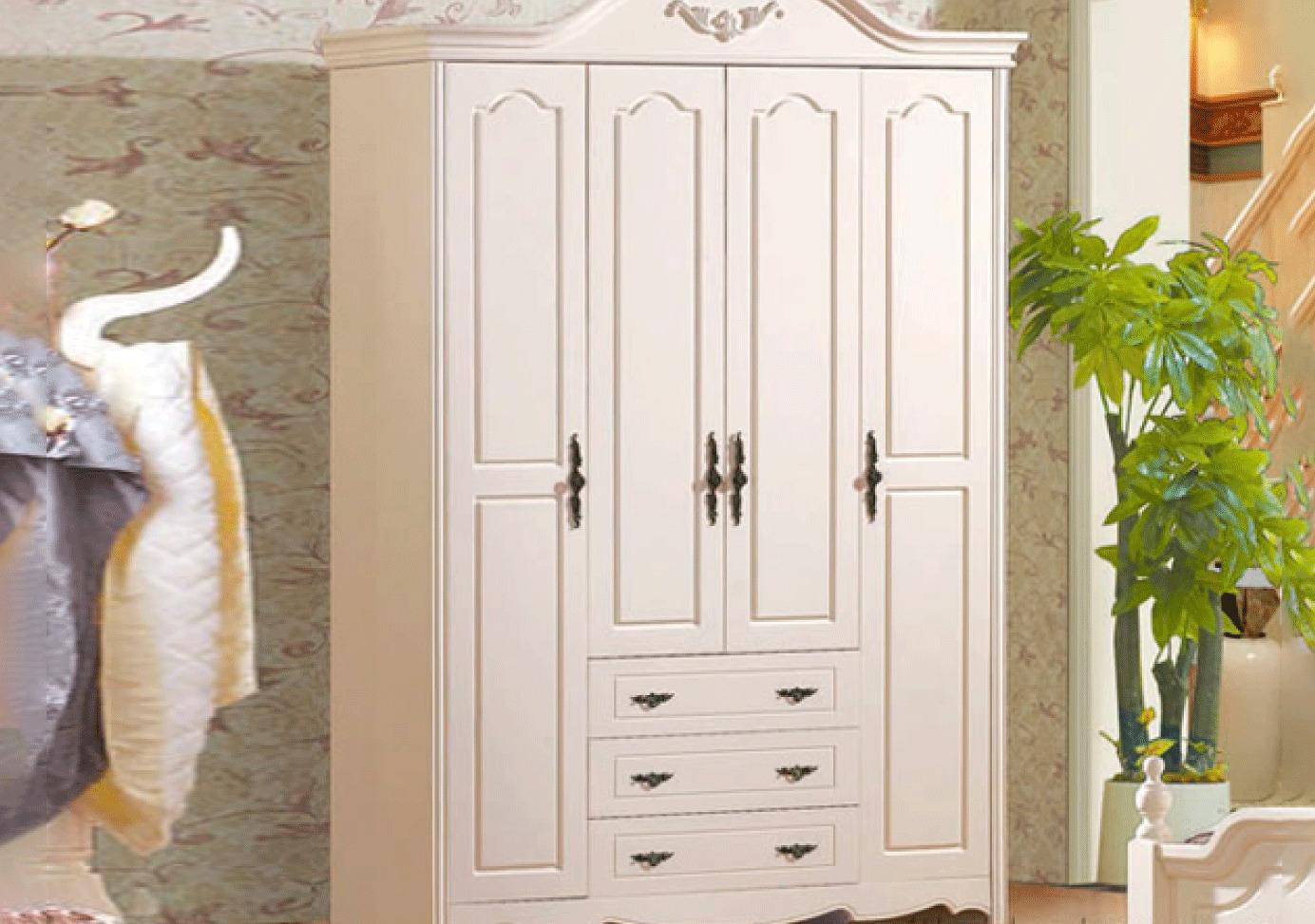 Tủ quần áo gỗ Acacia sơn trắng 019