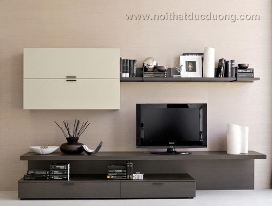 Kệ tivi gỗ laminate màu đen trắng 05