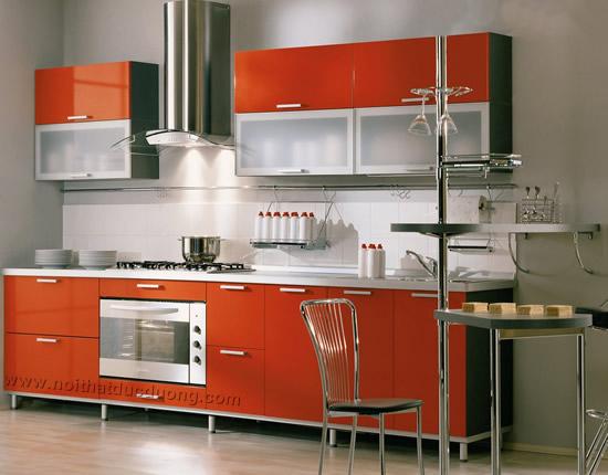 Tủ bếp Laminate màu cam 10