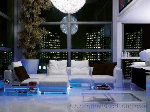 Trang trí nội thất: Hiệu ứng đặc biệt từ đèn LED màu xanh