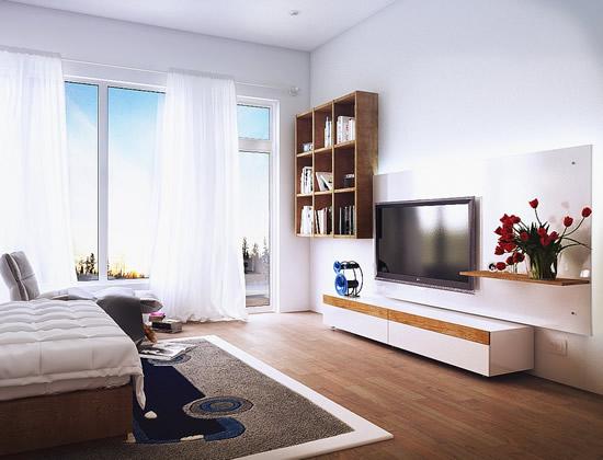 Mẫu kệ tivi treo tường đẹp cho phòng ngủ