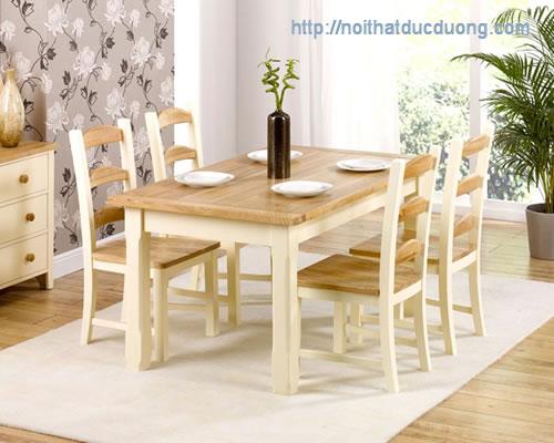 Bàn ăn gỗ sồi tự nhiên theo phong cách hiện đại
