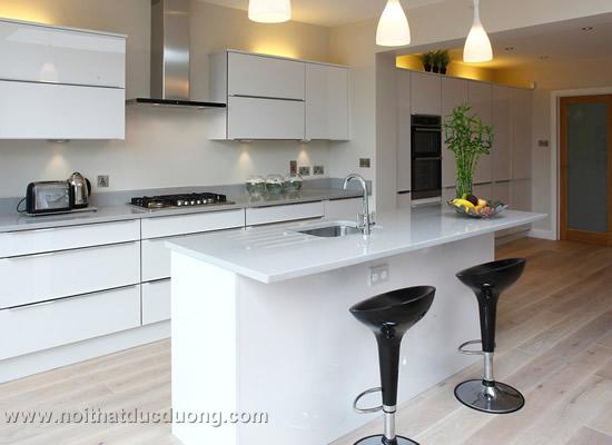 Tủ bếp gỗ laminate màu trắng 22