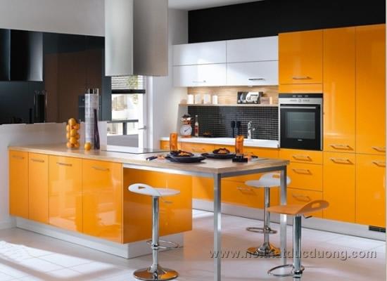 Tủ bếp acrylic màu cam cá tính 27