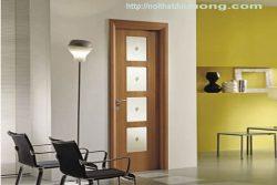 Cửa gỗ veneer ô kính – M49