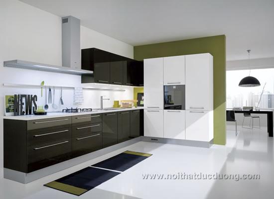 Tủ bếp Acrylic màu đen bóng 28