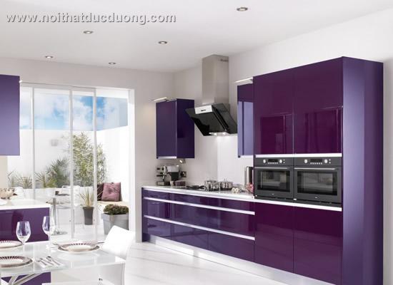 Tủ bếp chữ L màu tím 40