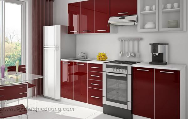 Tủ bếp Acrylic bóng gương 45