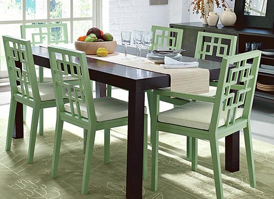Mẫu bàn ghế ăn sơn màu xanh ngọc m36