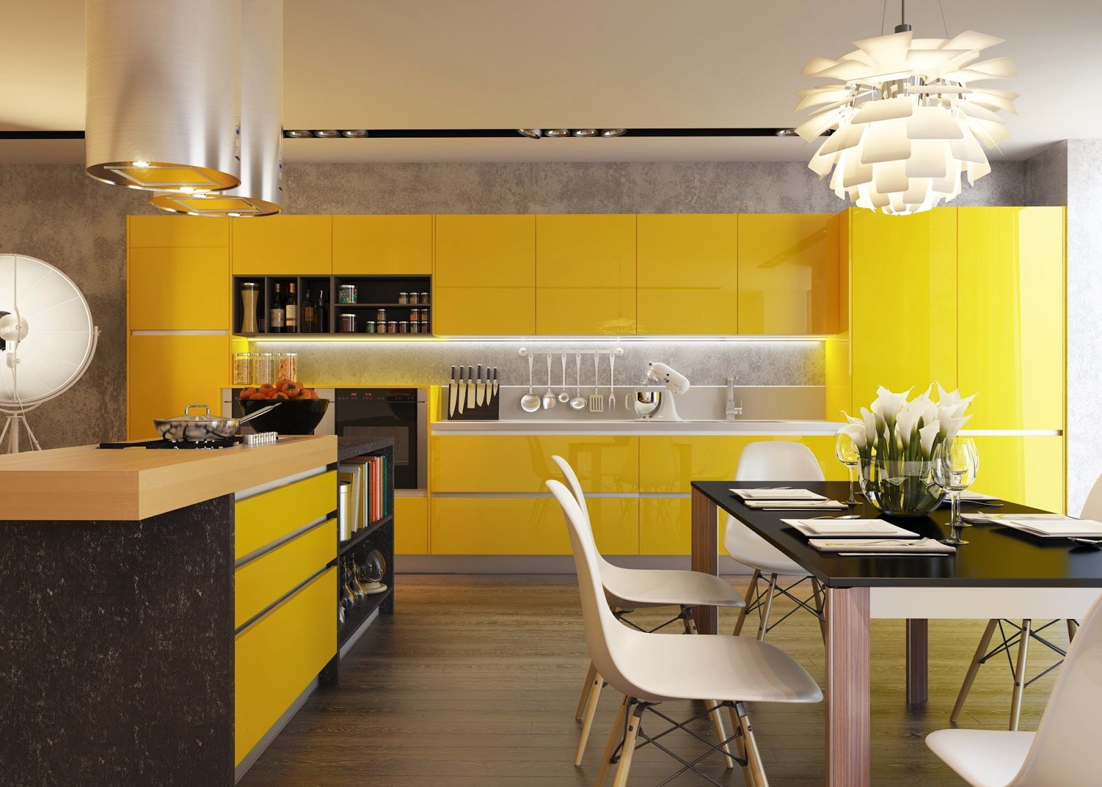 Tủ bếp cao cấp màu vàng – M40