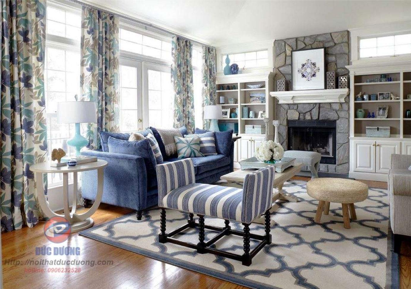 Phòng khách gam màu xanh – M17