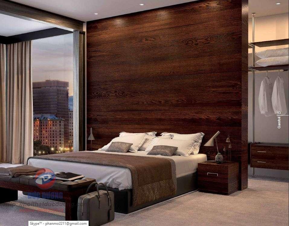 Phòng ngủ với vật liệu gỗ hiện đại