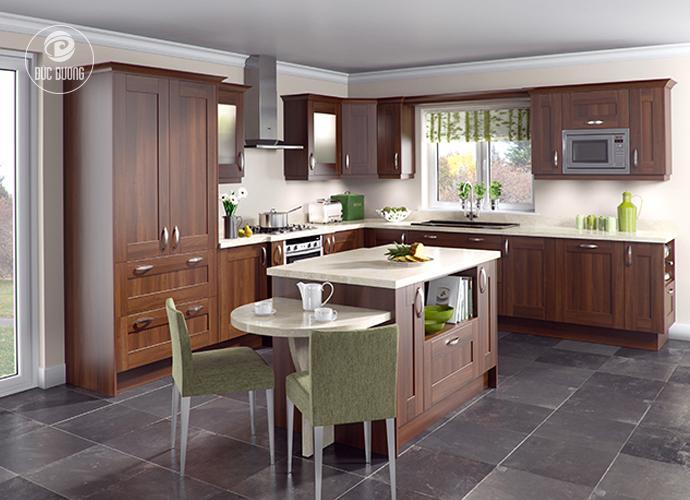 Tủ bếp gỗ óc chó – chất liệu gỗ đạt bền cao và rất chắc chắn.