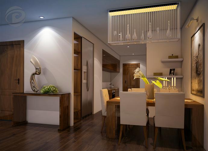 Khu vực ăn và phòng khách được thiết kế đẹp mắt, trang trí sang trọng.