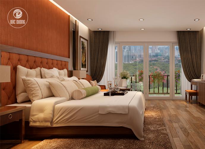 Hình 3: phòng ngủ nổi bật với ban công hướng ra khoảng không rộng lớn.