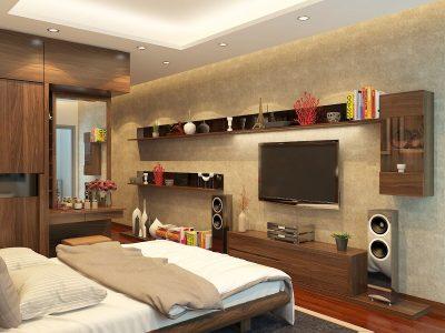 Hình 4: kệ tủ tivi với thiết kế đơn giản kết hợp cùng những vách gỗ gắn tường đa năng.