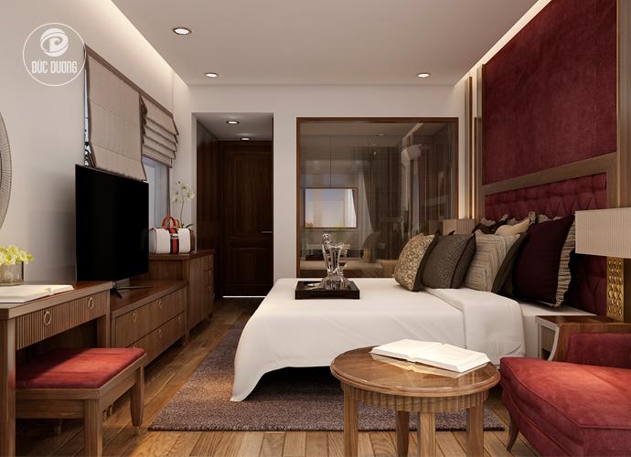 Hình 6: không gian trở nên ấm áp với đồ nội thất được làm hoàn toàn từ gỗ tự nhiên