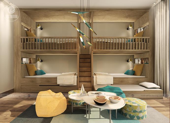 Giường ngủ trẻ em thiết kế từ gỗ nhập khẩu