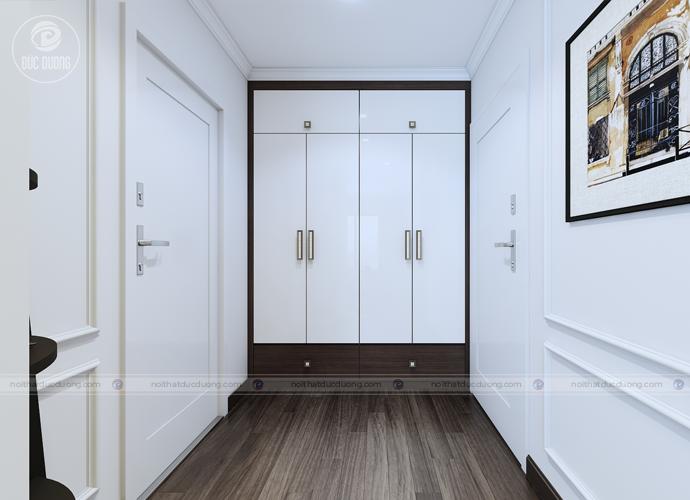 Một thiết kế thông minh khác được bố trí gọn gàng, âm tường tại đường sảnh ra vào các phòng.