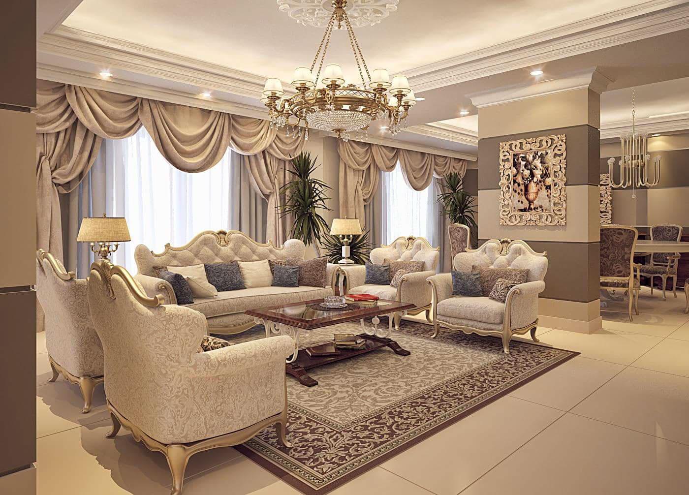 Hình 1: Phòng khách được thiết kế theo phong cách cổ điển.