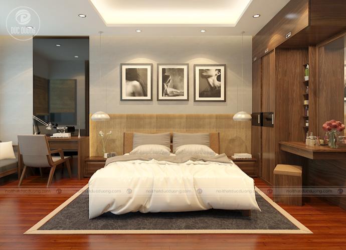 Hình 1: nội thất phòng ngủ bố mẹ được thiết kế theo phong cách hiện đại – sang trọng.