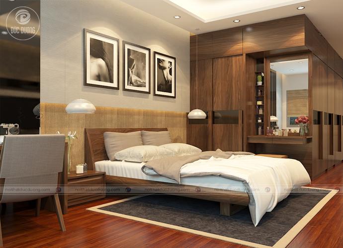 Hình 2: thiết kế tủ quần áo chạy dọc lối đi giúp tiết kiệm diện tích cho căn phòng.