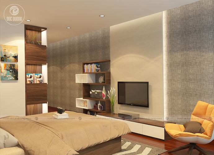 Hình 6: Kệ tivi thiết kế tối giản nhưng lại tạo điểm nhấn cho căn phòng.