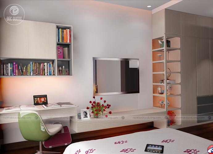 Hình ảnh 8: kệ tủ và góc ọc tạp được thiết kế đơn giản với gam màu trắng chủ đạo