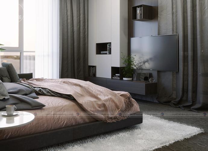 Kệ tivi đồng chất liệu với các sản phẩm thiết kế nội thất khác.