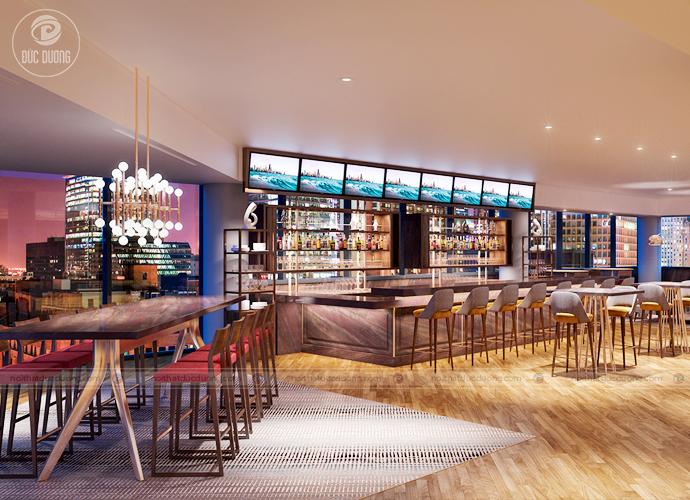 Quán bar đẳng cấp với nội thất được làm hoàn toàn từ gỗ sồi và gỗ óc chó