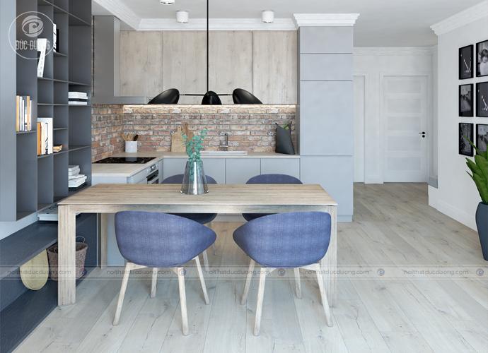 Kiểu trang trí nội thất phòng ăn tối giản đối với không gian nhà ống hẹp chạy dài