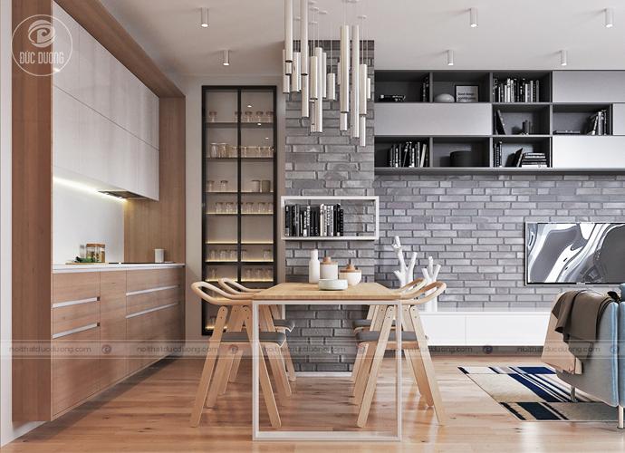 Kiểu không gian phổ biến, khu bếp nấu cũng là khu ăn uống của cả gia đình