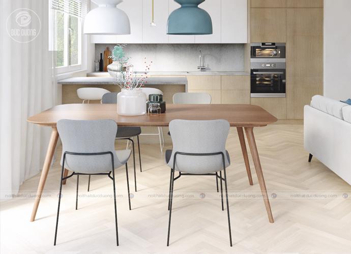 Nội thất phòng ăn hiện đại cùng gam màu trắng xanh kết hợp gỗ nâu tạo nên không gian thư thái, nhẹ nhàng, bay bổng