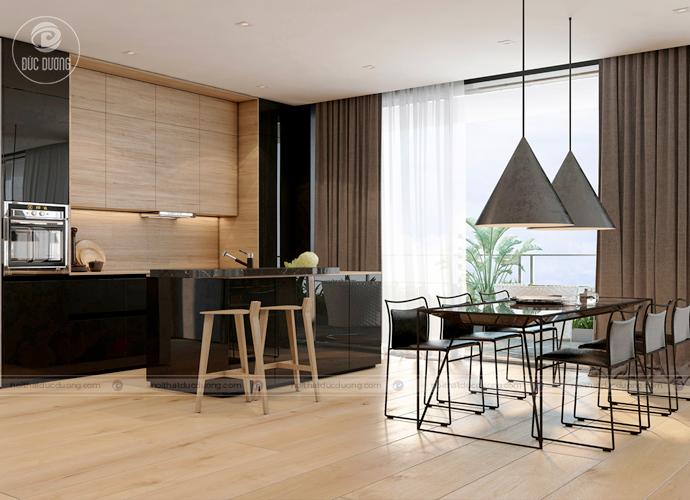 Nội thất phòng ăn hiện đại kết hợp với tủ gỗ đựng đồ tạo nên một không giant rang trọng, ấm áp tối ưu diện tích sử dụng