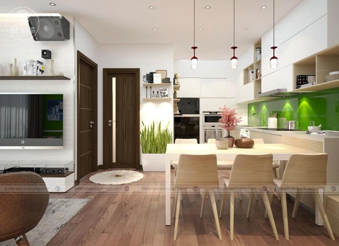 Hình 4: phòng bếp nổi bật với điểm nhấn khi ốp gạch màu xanh lá
