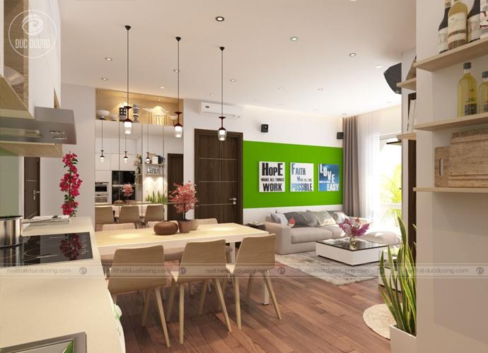 Hình 1: căn hộ chung cư với lối thiết kế thông phòng tạo không gian rộng rãi và thoải mái