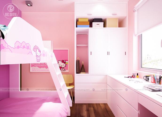 Hình 7: căn phòng nhỏ trở nên ấm cúng với gam màu hồng thơ mộng