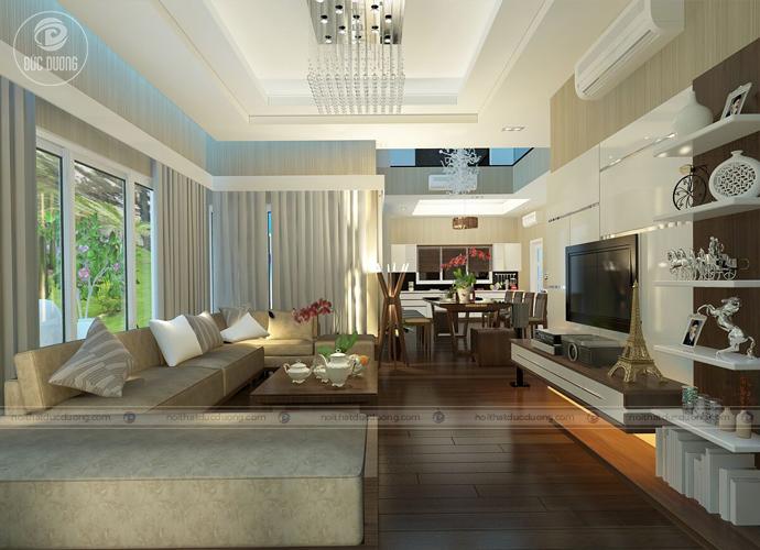 Hình2: phòng khách trở nên sang trọng với bộ sofa bọc da cao cấp.