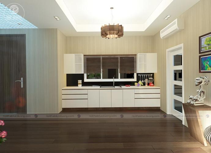 Hình 8: căn bếp nhỏ gọn nhờ hệ thống tủ chứa đồ thông minh tiện ích