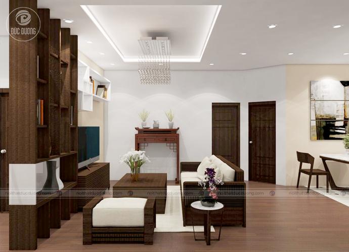 Hình ảnh 1: Phòng khách nổi bật với bộ sofa được làm từ chất liệu gỗ óc chó.