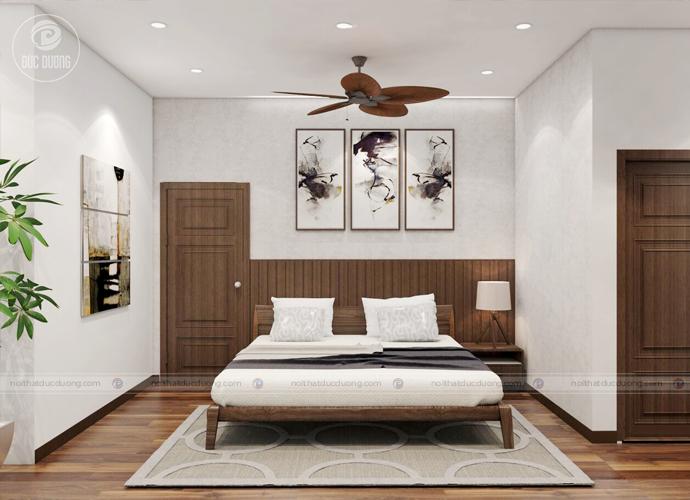 Hình ảnh 8: giường ngủ gỗ óc chó – sang trọng ấm áp