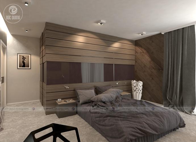 Căn phòng với thiết kế chủ đạo từ gỗ óc chó