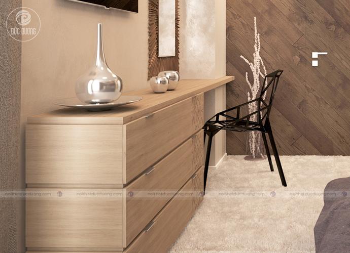 Điểm nhấn của căn phòng này chính là vách ốp tường gỗ óc chó kết hợp kính sang trọng. Bao viền và những thanh nẹp gỗ.