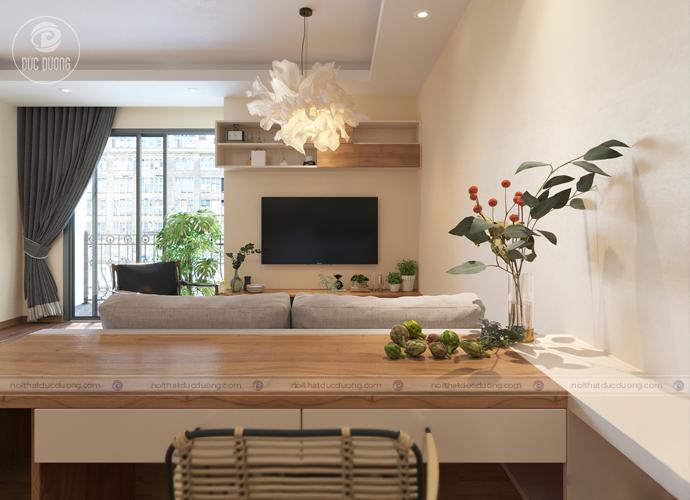 Hình ảnh: Mẫu nội thất phòng khách cho người mệnh Kim thiên về gam màu nâu trắng lấy cảm hứng từ gỗ sồi tự nhiên.